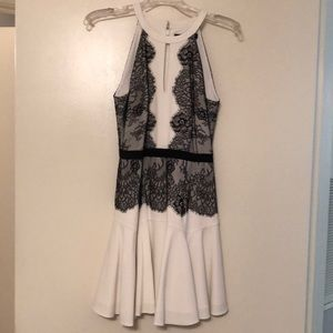 BCBG ivory and black lace cocktail dress